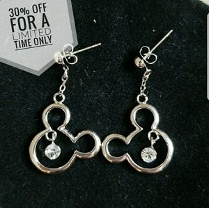 Jewelry - Silvertone Mickey Mouse Head earrings w/ crystal.